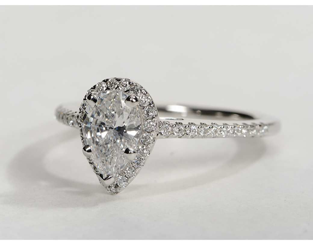 pear shaped engagement rings pear shaped wedding ring Pear Shaped Halo Engagement Rings