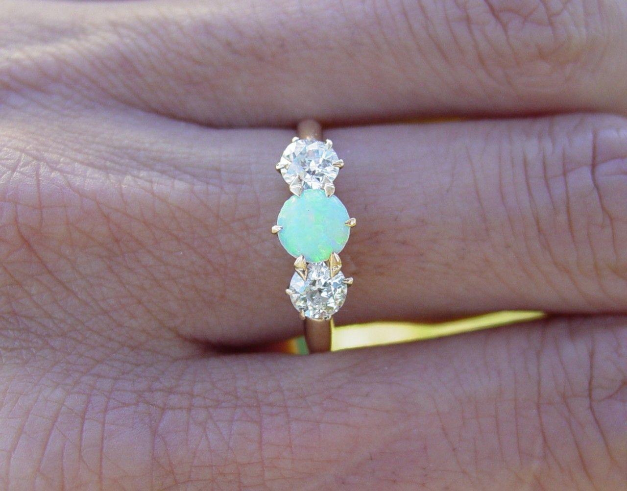 opal wedding ring sets Vintage antique Opal european diamond engagement ring