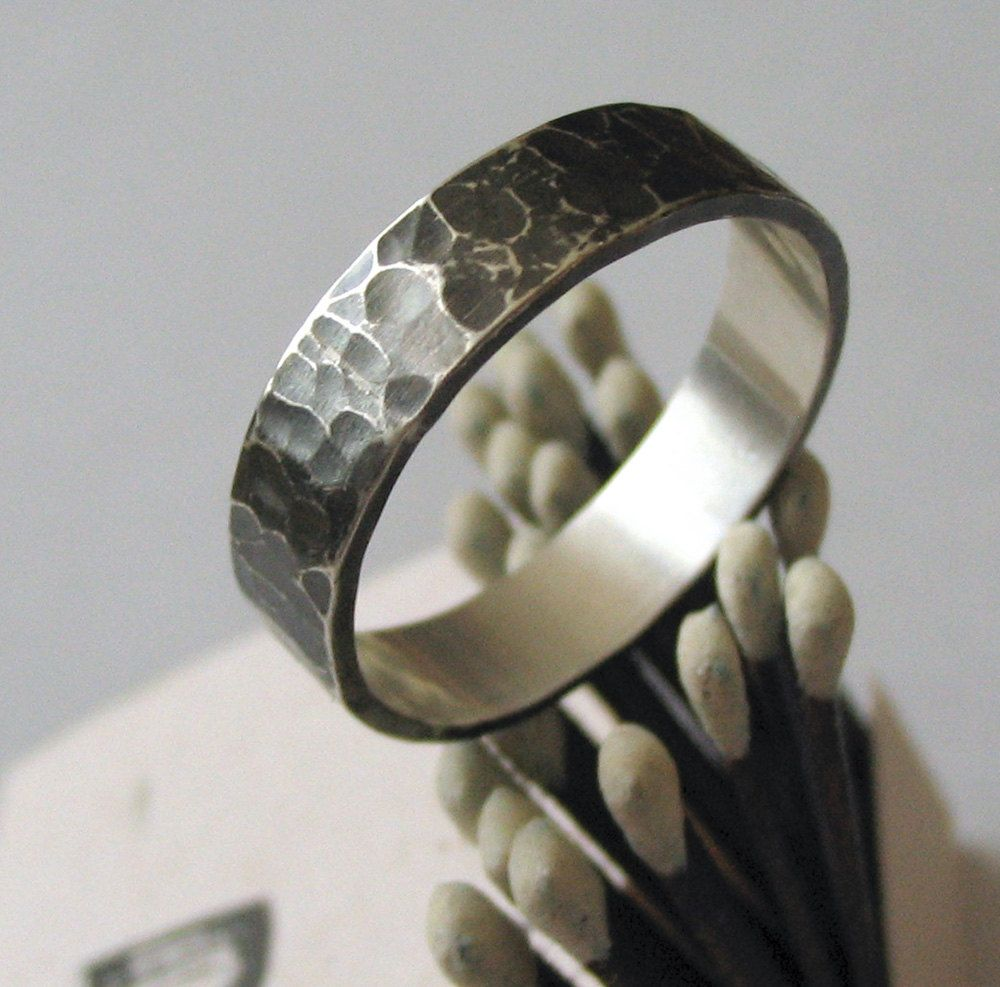 etsy mens wedding bands Items similar to Men s Wedding Ring Wedding Band Sterling Silver Dark Silver Hammered Texture Tenebrae Ring on Etsy