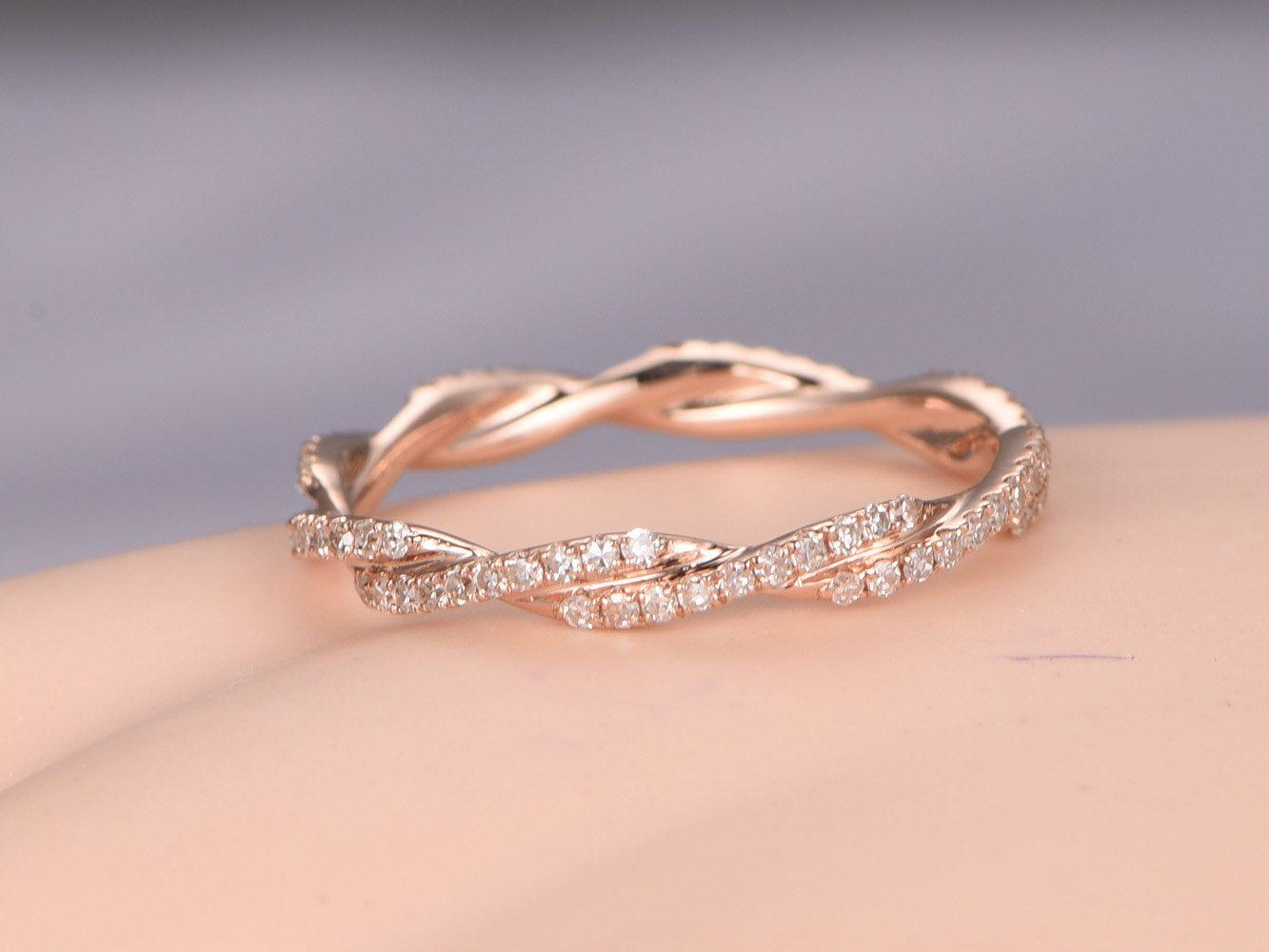 infinity diamond wedding band Twisted shape Diamond wedding band 14k rose gold FULL eternity ring engagement ring