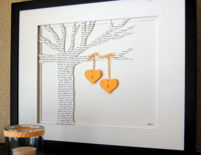 custom wedding gifts Personalized Wedding Gift Wedding Song Lyrics 3D Paper Tree FRAMED