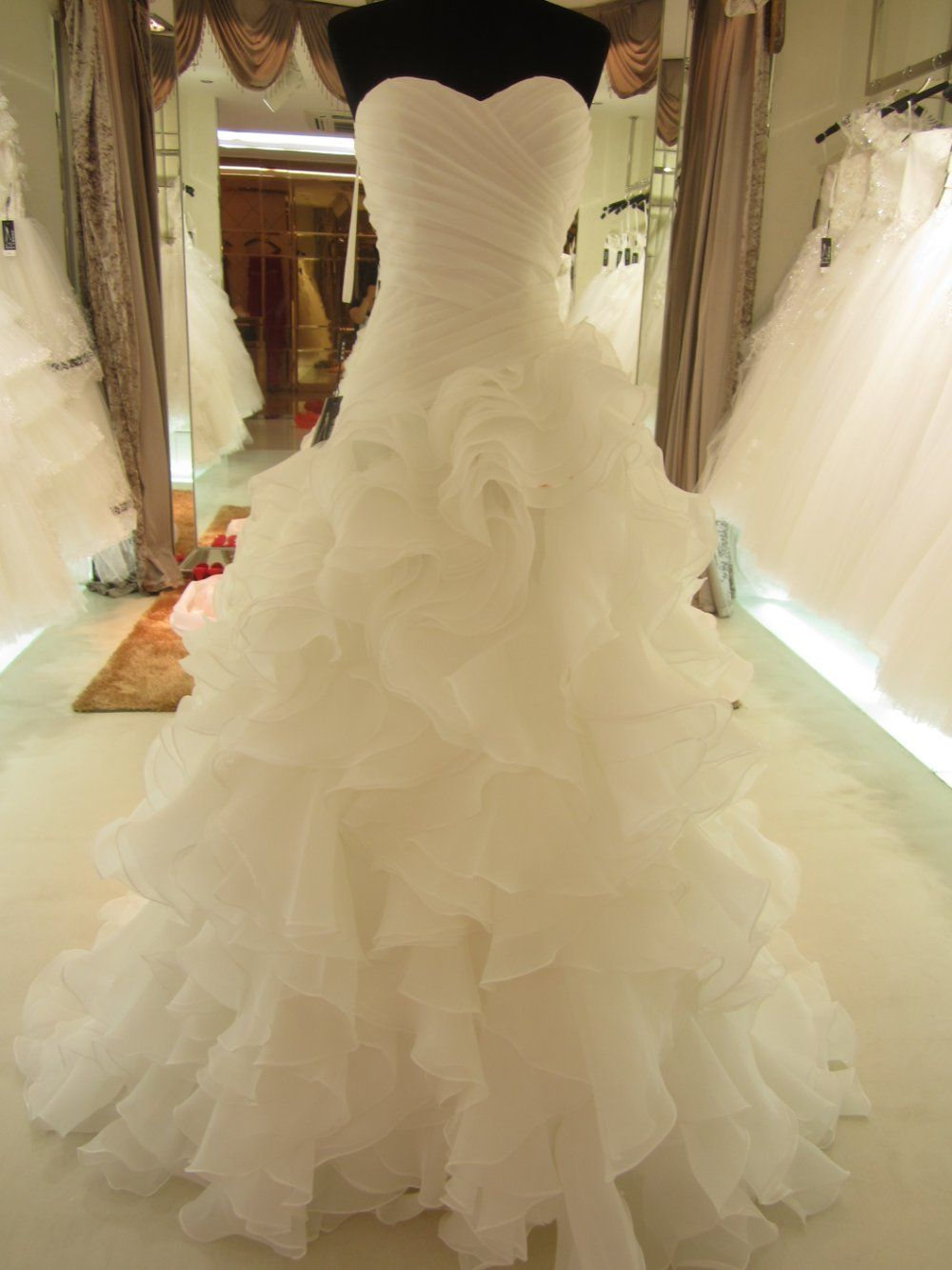 aliexpress wedding dresses Hot Sale Real Picture Organza Ruffle Wedding Dress Bridal Gown sl on