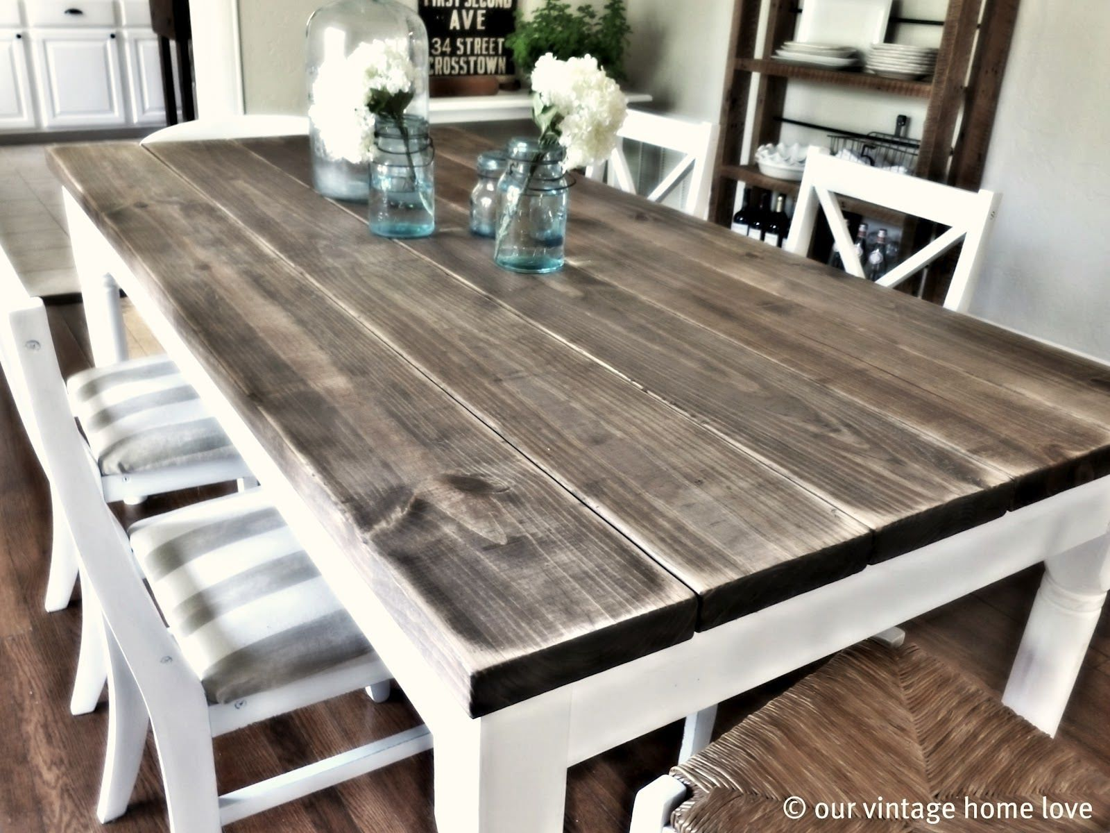 white wash table make kitchen table 5 of them each 8 feet long to make a 6 foot long 3 foot deep table top They were each total cost was bucks Round corners for top