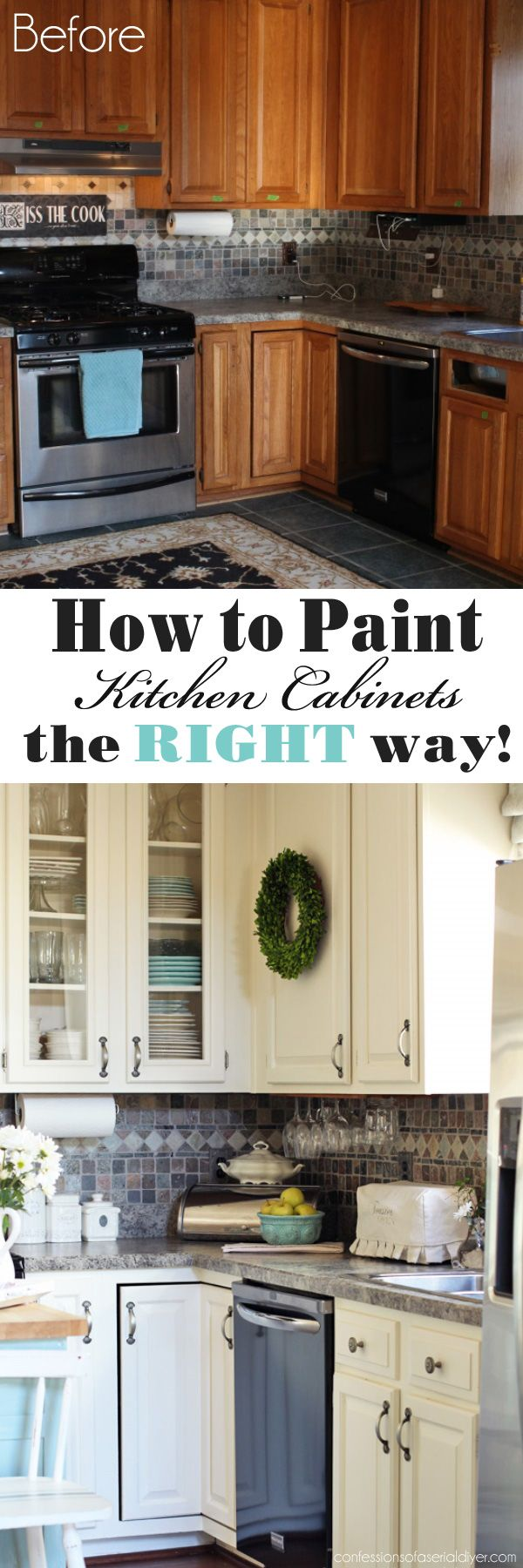 redoing kitchen cabinets How to Paint Kitchen Cabinets the RIGHT way from Confessions of a Serial Do it