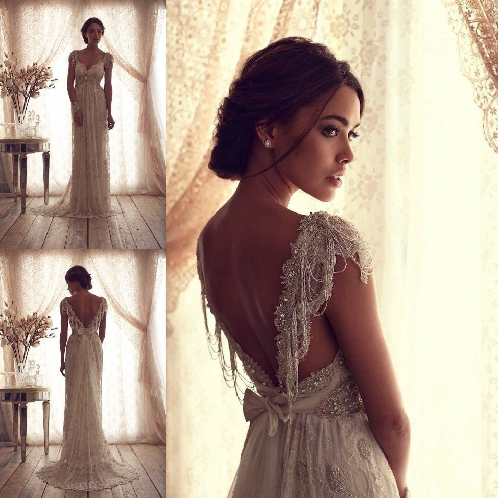 sheer lace wedding dress Best Vintage V Neck Sheer Cap Sleeve Wedding Dress Beaded Lace Bridal Gown