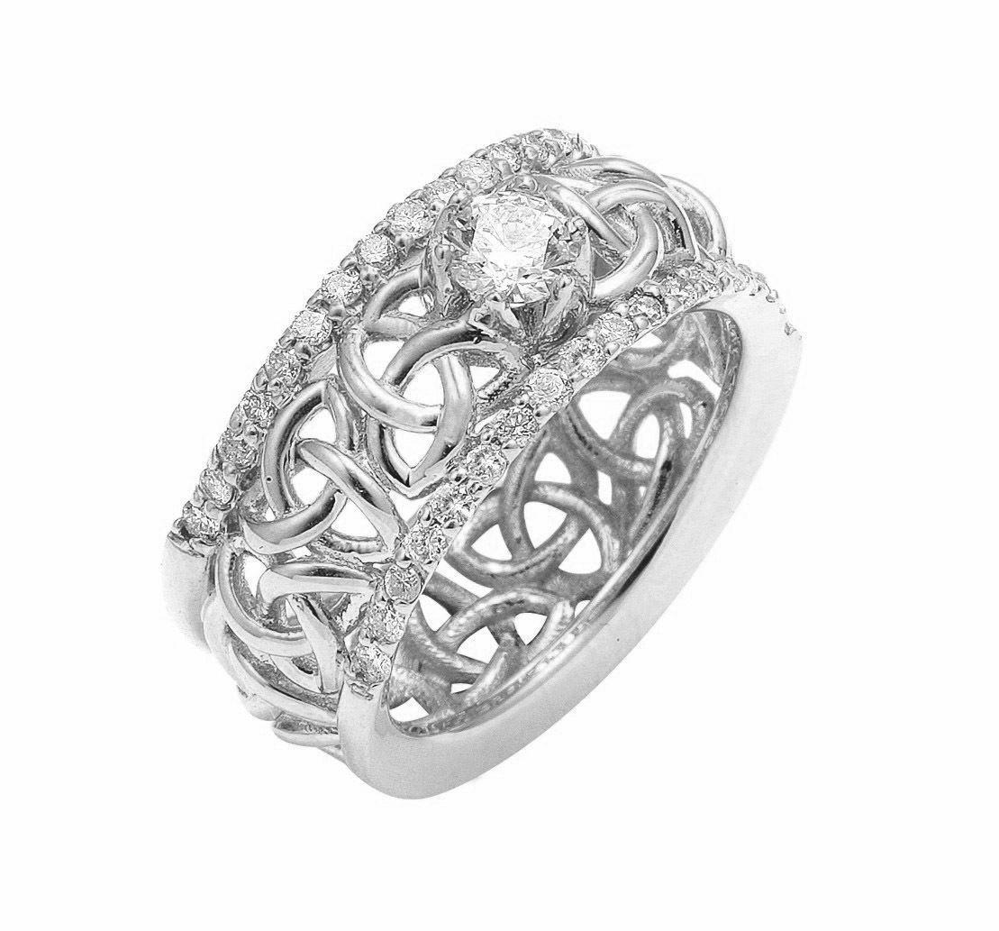 celtic wedding ring White Gold Celtic Trinity Knot Diamond Wedding Ring