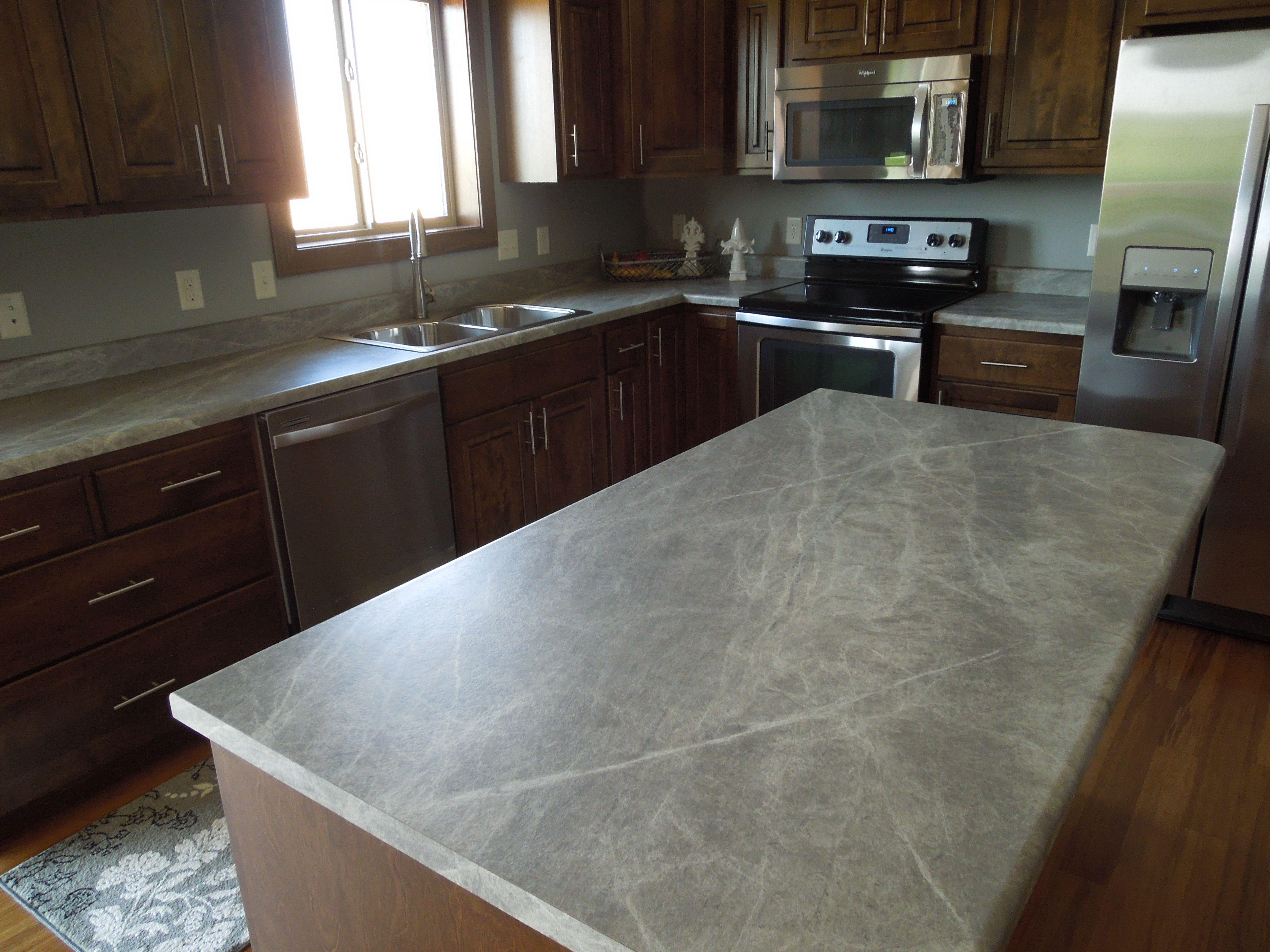 kitchen reno soapstone kitchen countertops Formica fx Soapstone Sequoia kitchen island and perimeter