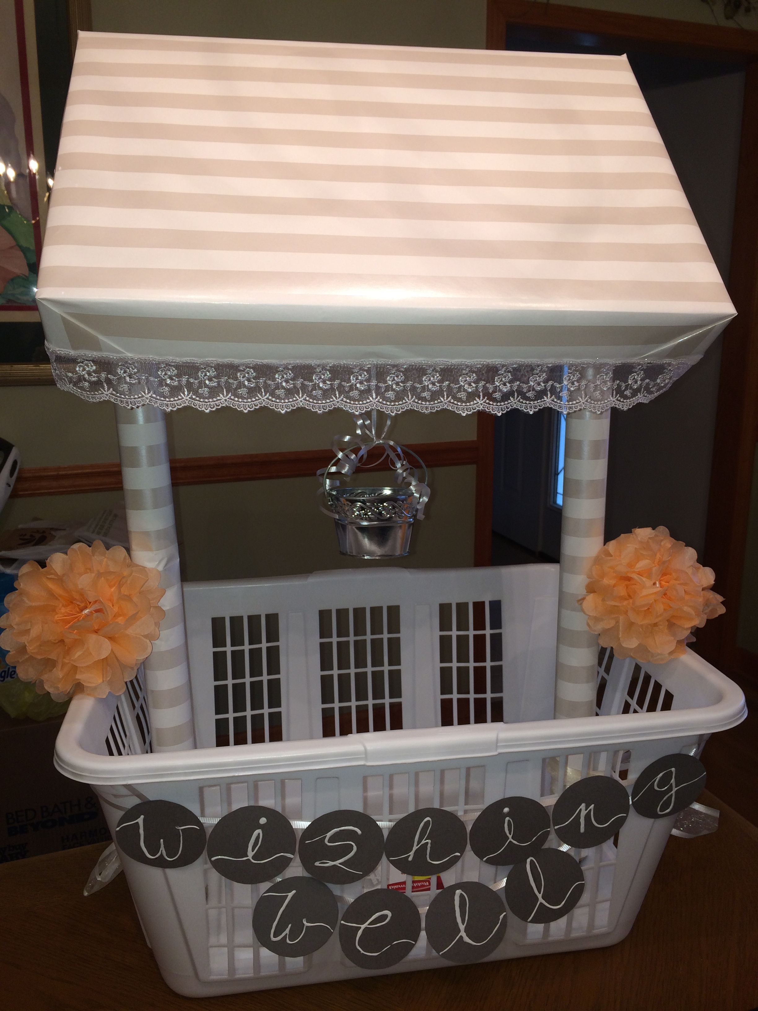 wishing well wedding Wishing Well I made for my cousin s shower Buy a laundry basket