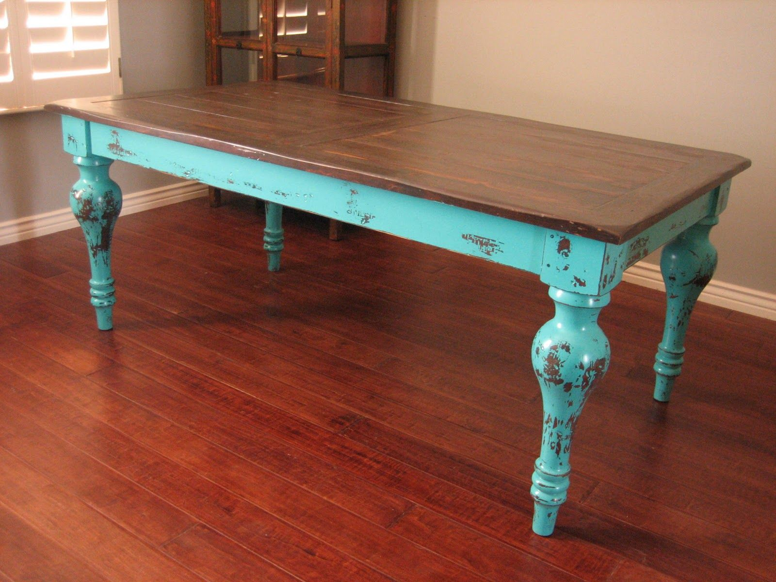 beachy kitchen table Really liking the teal distressed look It looks as if this coffee table was on