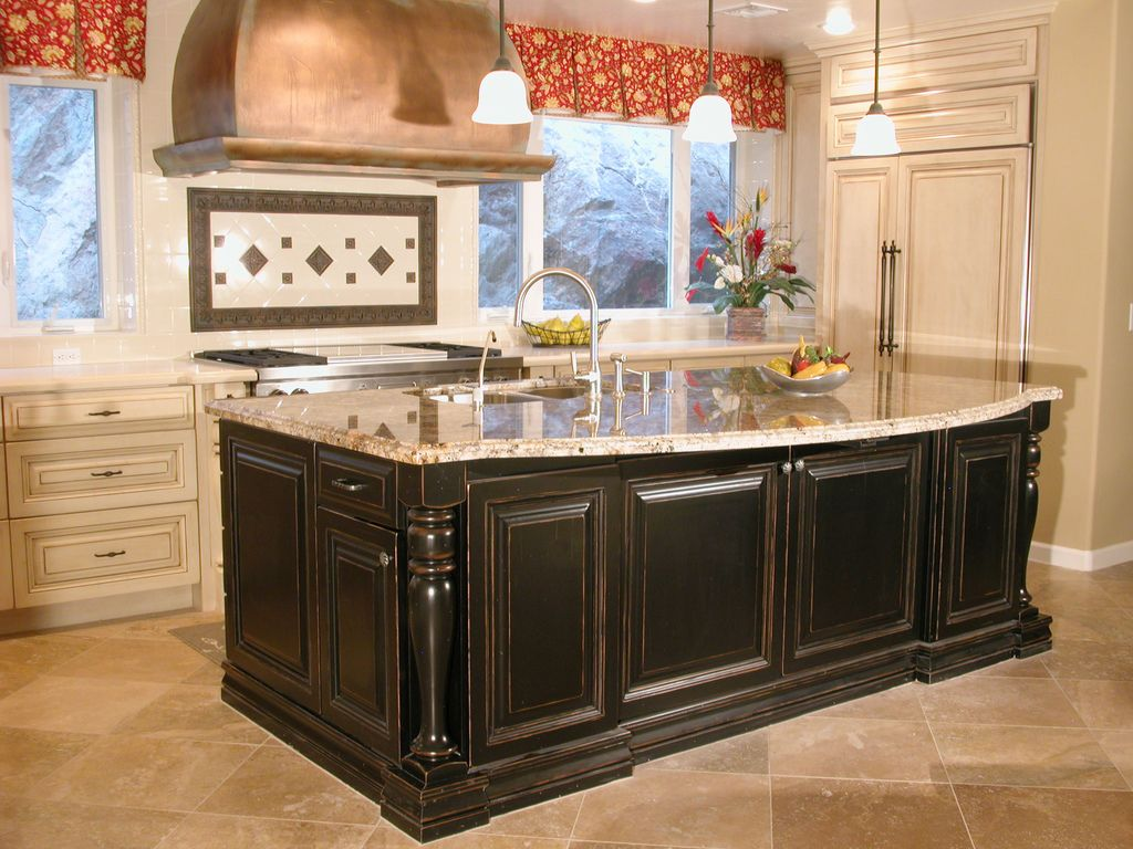 kitchen refinished cabinets high end kitchen cabinets High End Kitchen With Cabinetry Painted A Dark Paint Finish On The Kitchen Island