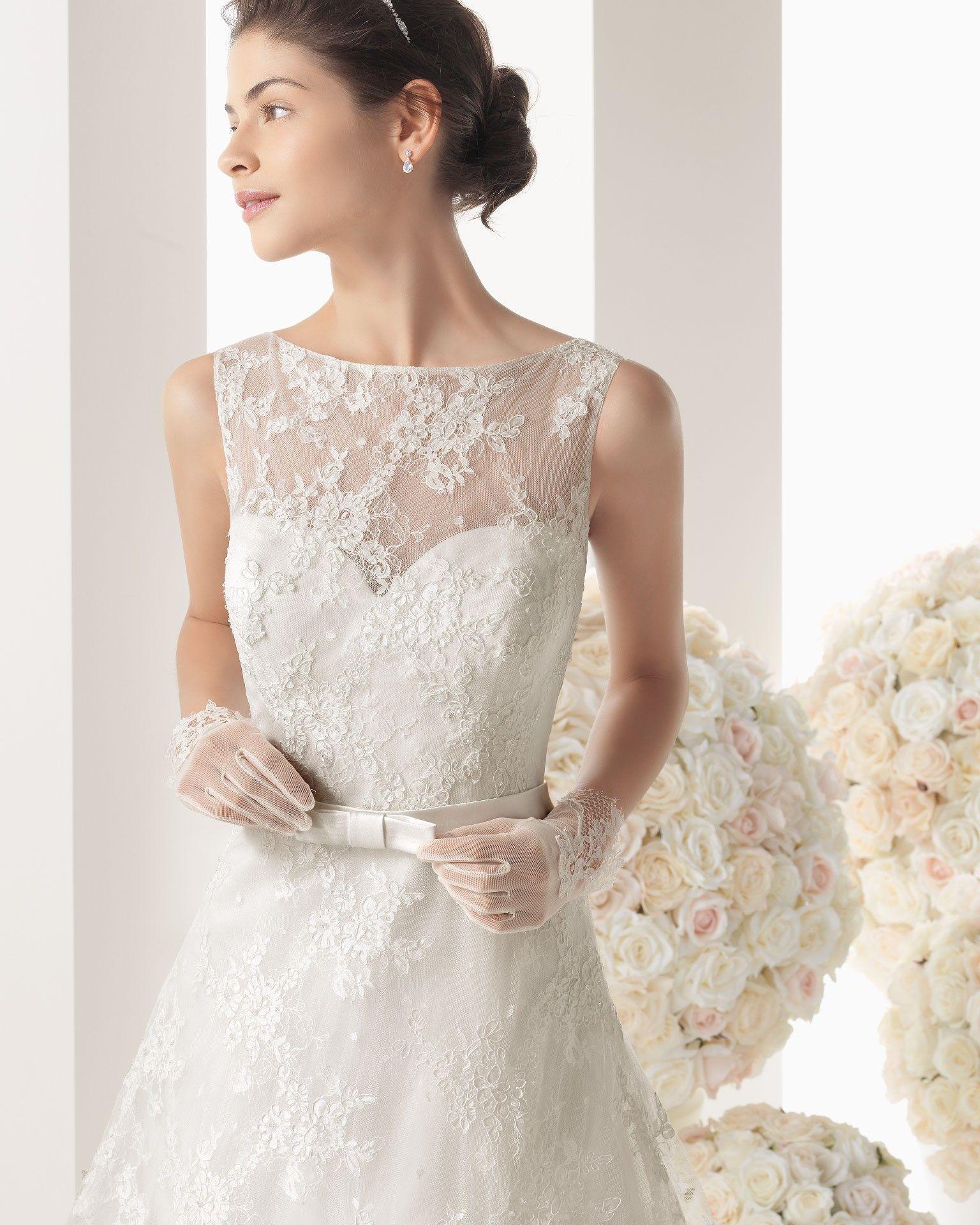 lace top wedding dress Noble line tank top lace ivory brush train wedding dress hrc