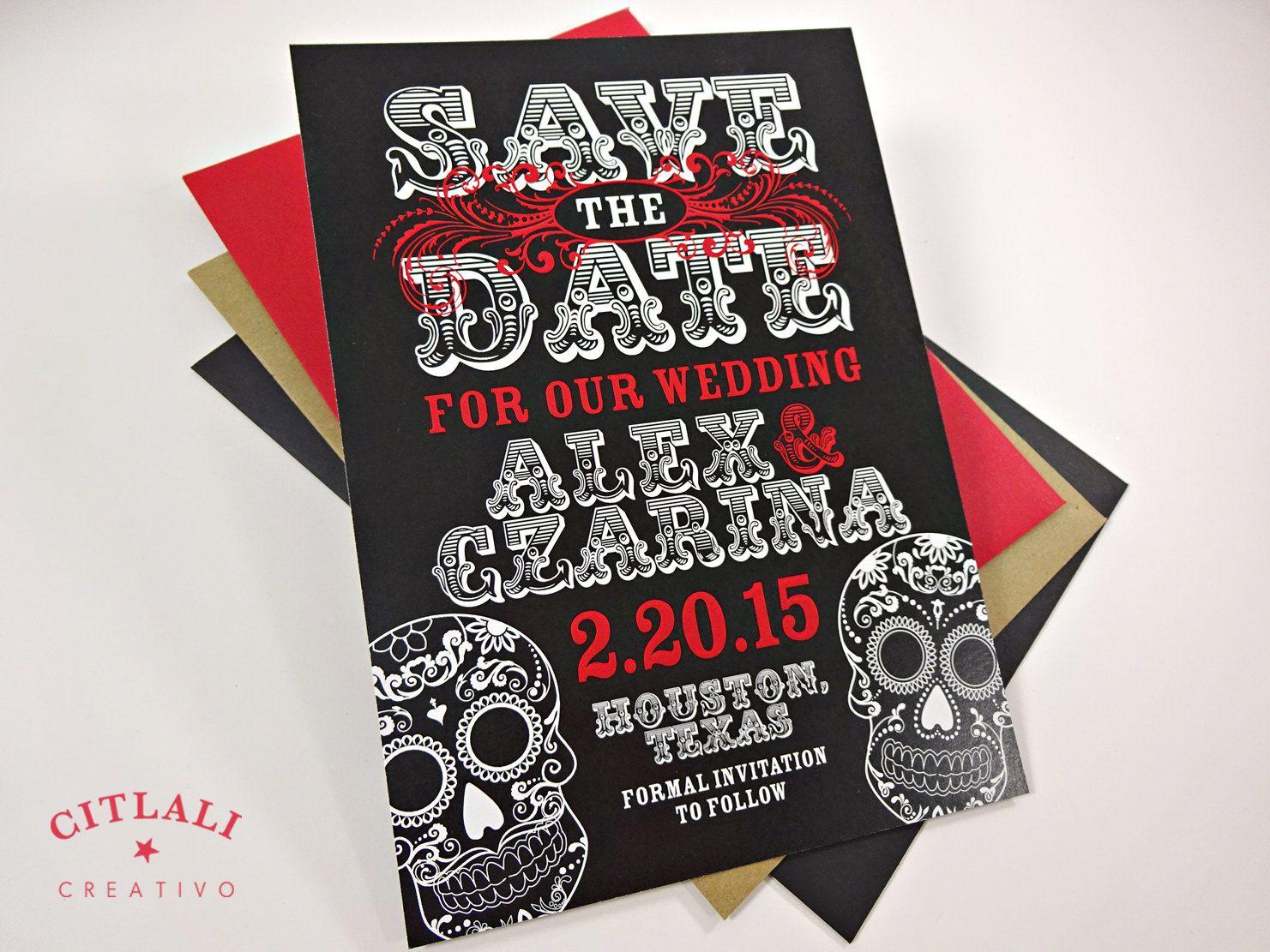 skull wedding invitations Day of the dead Wedding Save the Date Dia de los Muertos Skull Announcement Invitation