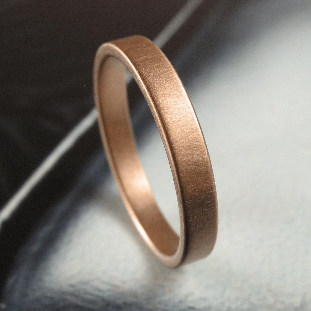 low profile wedding ring Brushed 3MM Rose Gold Low Profile Wedding Band Spexton Custom Jewelry