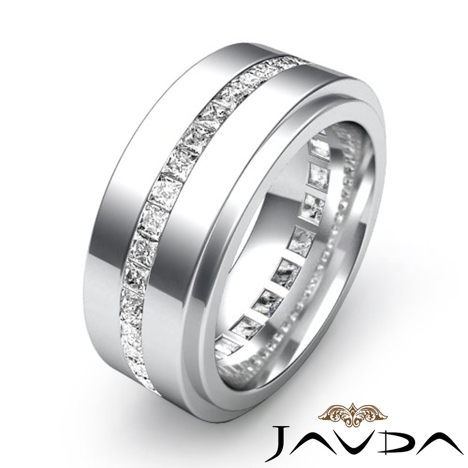 mens diamond wedding bands Men s Eternity Wedding Band Channel Set Princess Diamond Ring Platinum 1 7Ct