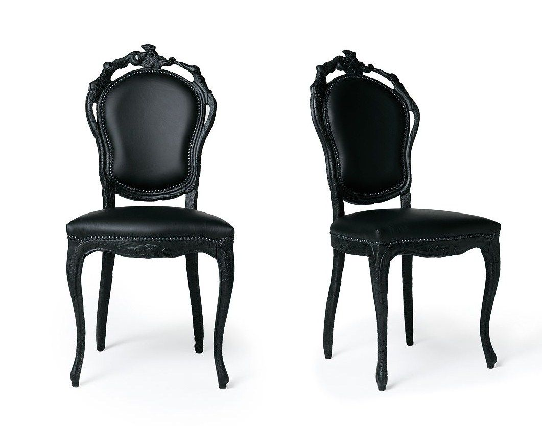 leather kitchen chairs Contemporary Dining Chairs In Black Design Inspiration Elegant French Italian Painted Black Dining Chair with Black Leather Chair and Black Carving Wood