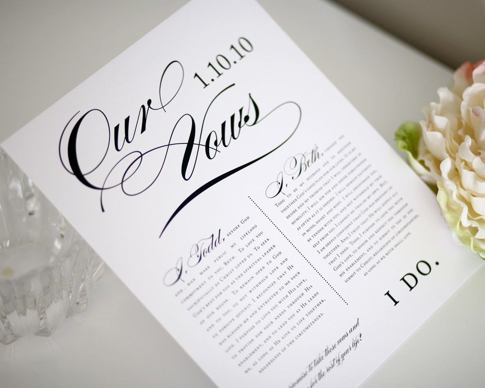 first wedding anniversary gift First Wedding Anniversary Gift Custom Vows Keepsake Print 65 00 via Etsy