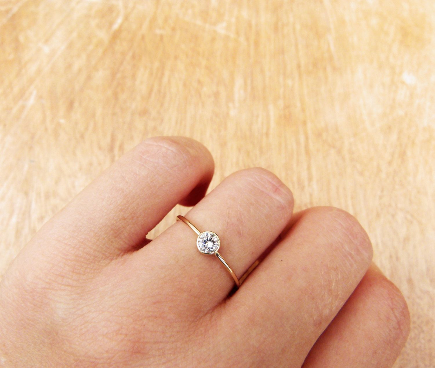 tiny wedding ring Delicate Engagement Ring Simple Engagement Ring 0 2 Carat Diamond Minimalist Diamond Ring Round Cut Diamond Ring