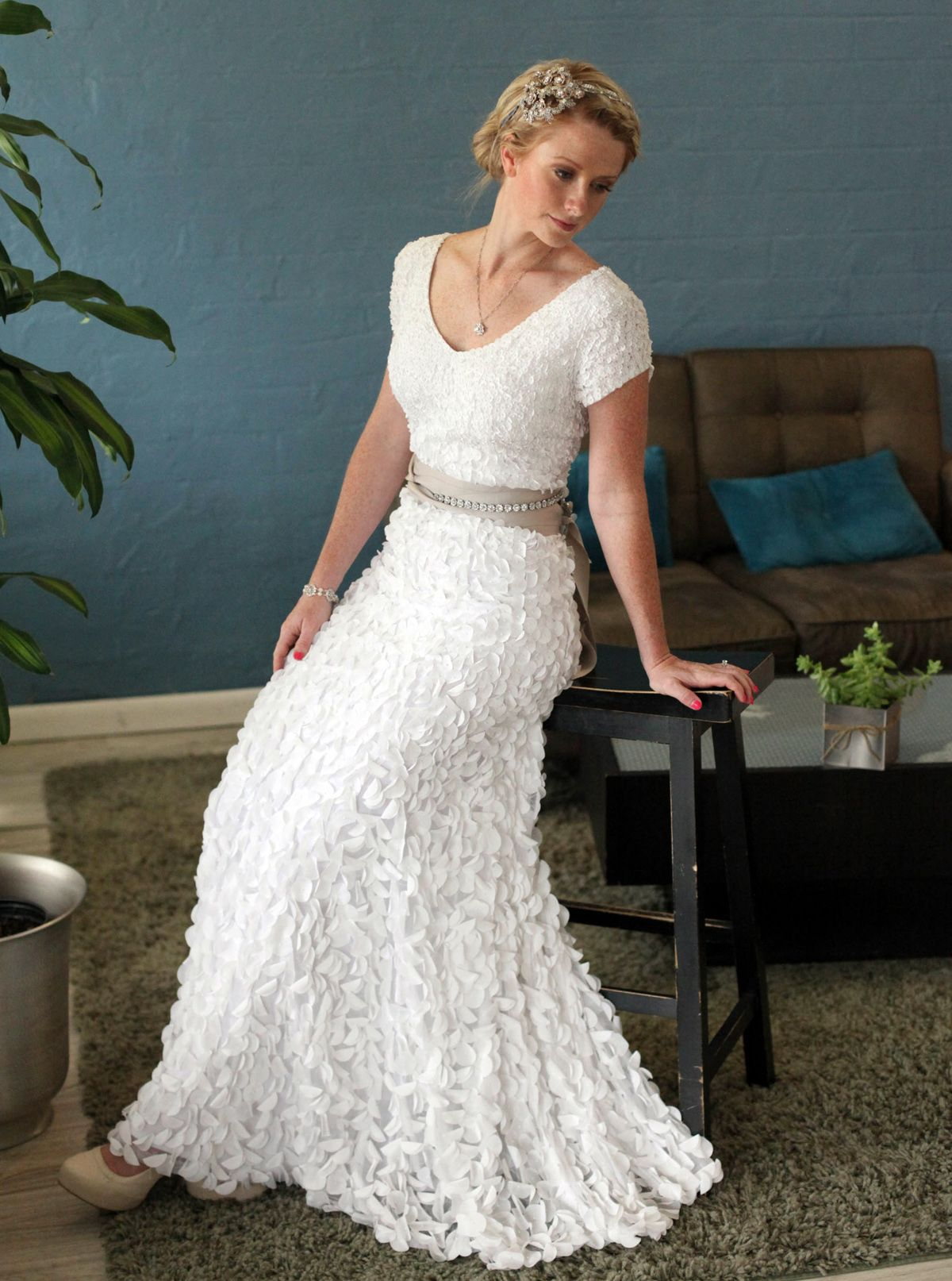 conservative wedding dress Stunning Texture Modest Wedding Gown Not so big on the hair but lovee