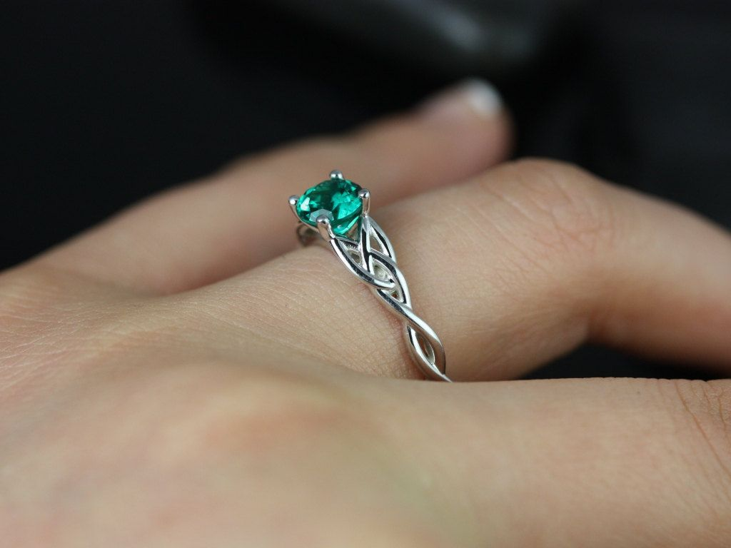 celtic wedding rings Cassidy 6mm 14kt White Gold Round Emerald Celtic Knot Engagement Ring Other Metals and Stone Options Available