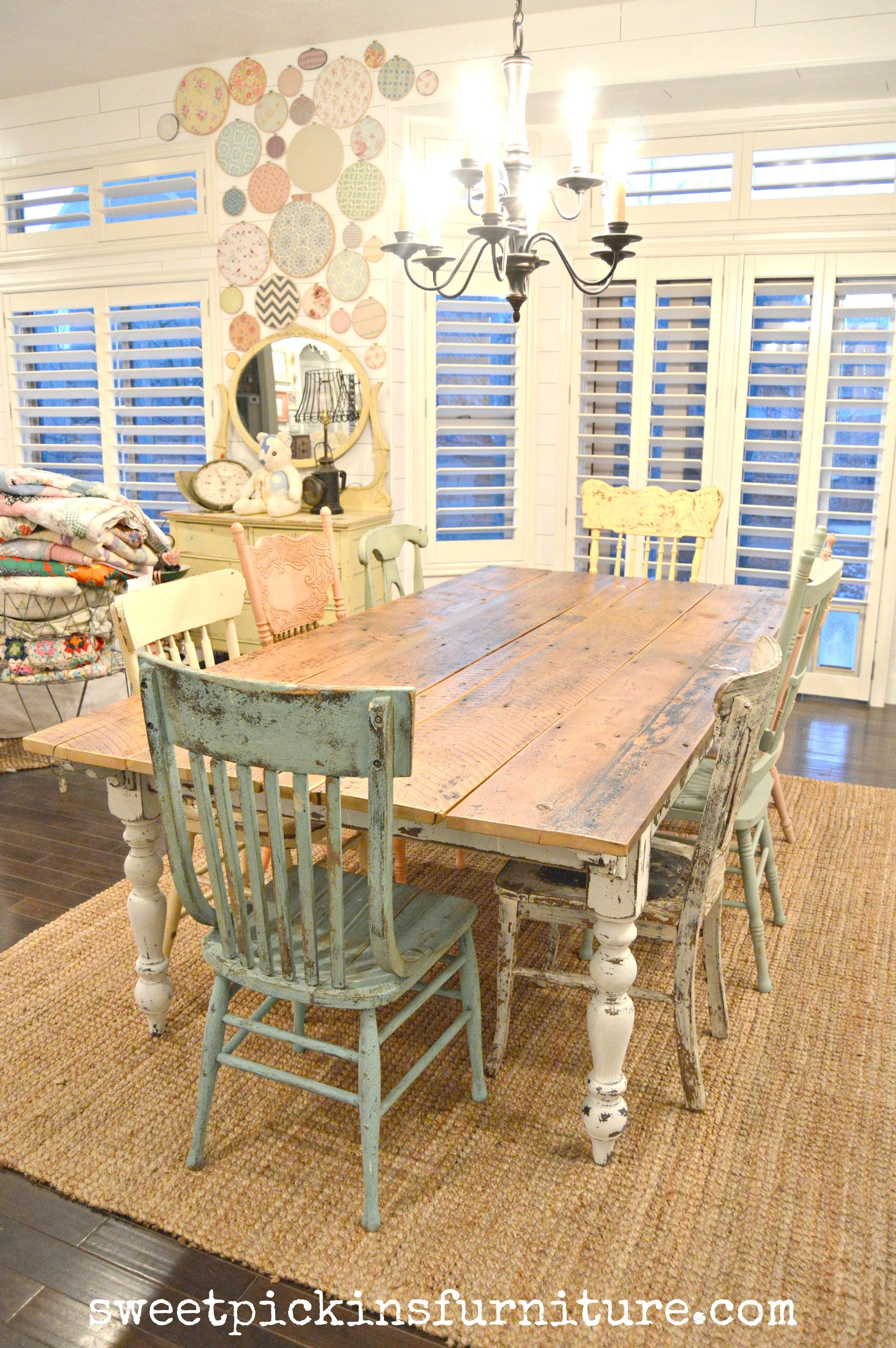 farmhouse kitchen table sets Sweet Pickins farm table Mismatched Table And ChairsMismatched Dining