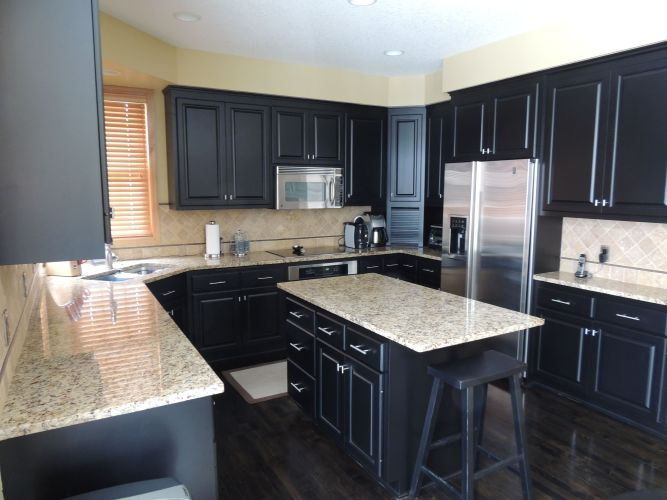 black kitchen cabinets with white countertops black kitchen cabinets Black Cabinets With White Countertops