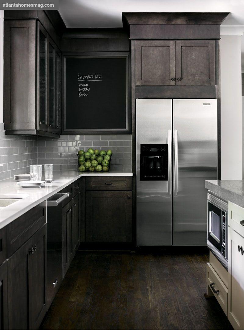 kitchen floor cabinets Dark rustic wood mixed with modern elements gray white kitchen