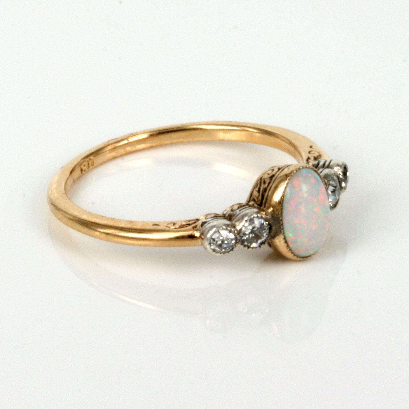 opal wedding ring sets Opal Engagement Rings Buy Art Deco opal diamond ring made in the s