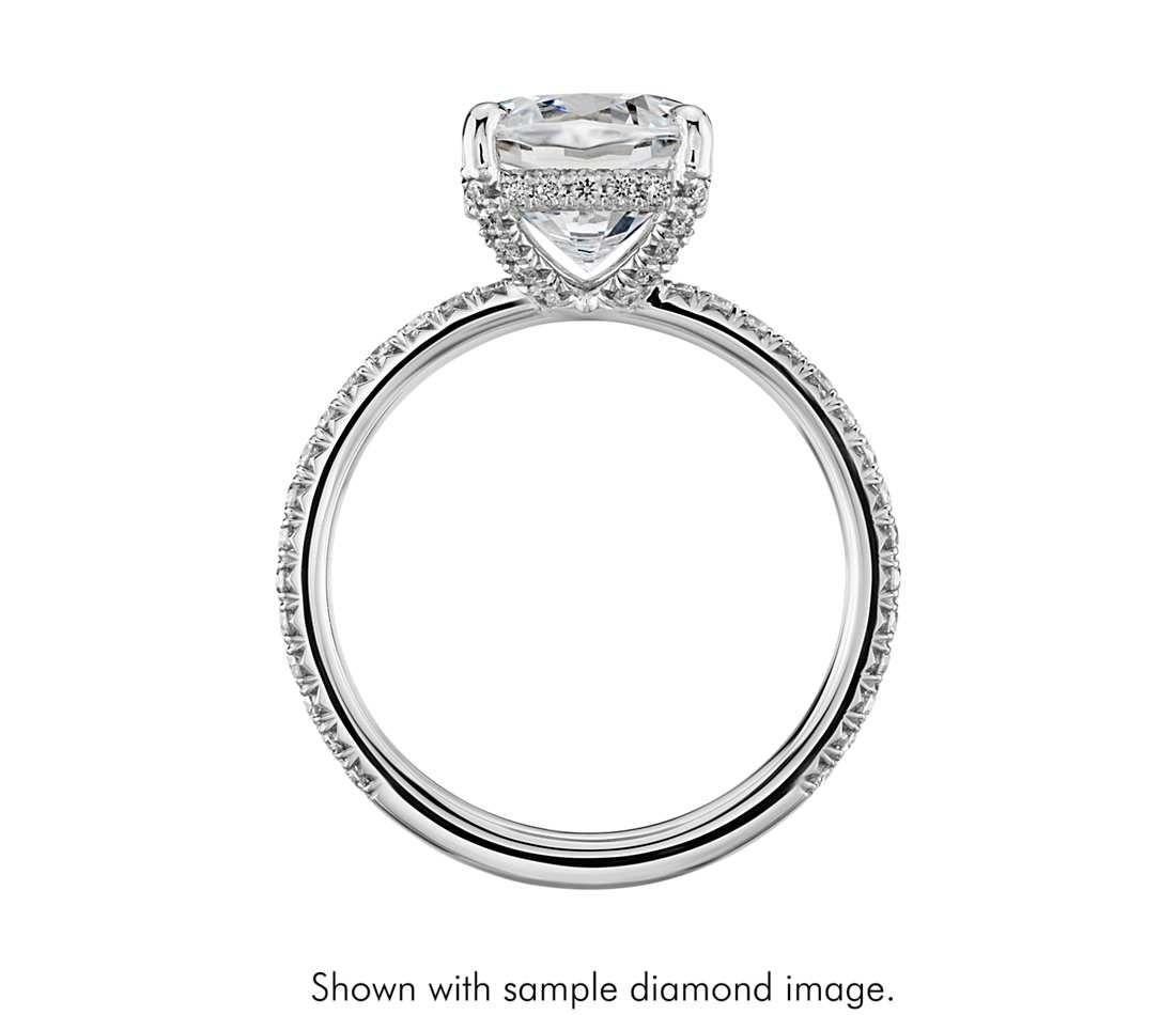 wedding ring settings Blue Nile Studio Cushion Cut Petite French Pave Crown Diamond Engagement Ring in Platinum