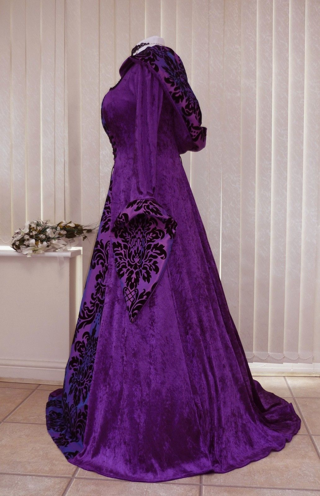 wiccan wedding dress Purple Gothic Whitby Medieval wedding dress hooded renaissance Pagan Wiccan