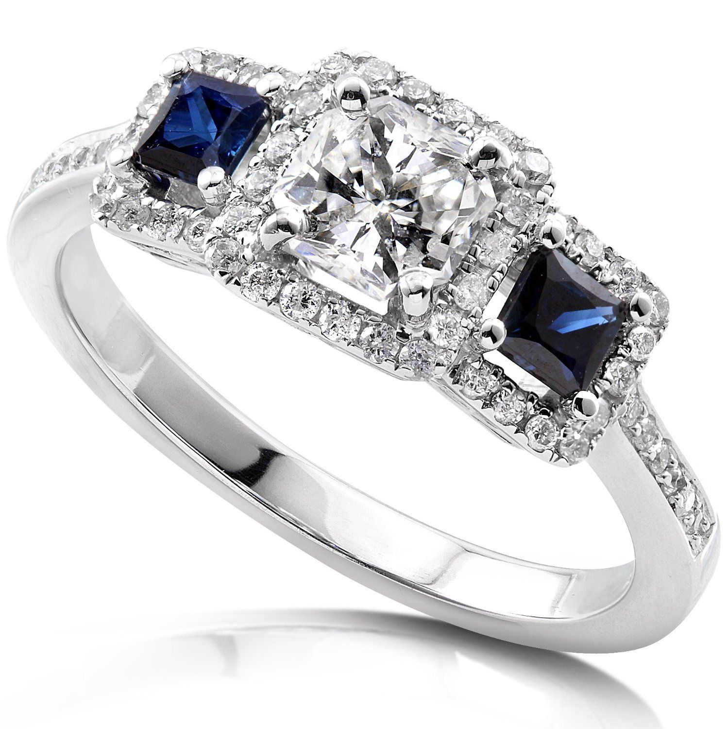 engagement wedding rings Annello by Kobelli 14k White Gold 7 8ct TDW Diamond Blue Sapphire Ring H I SI2 SI3 by Annello