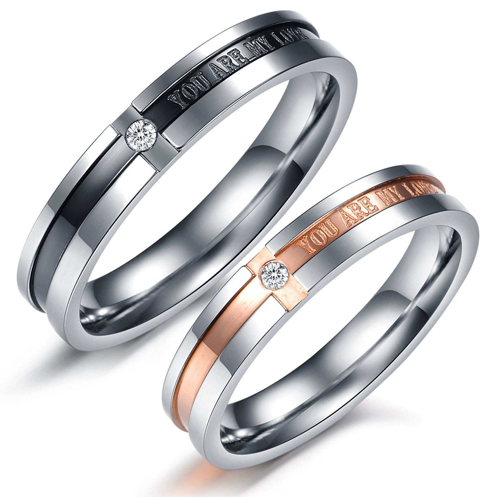 wedding band for her Simple bu elegant couples rings Matching Couple Titanium Steel Engagement Promise Ring Wedding Bands
