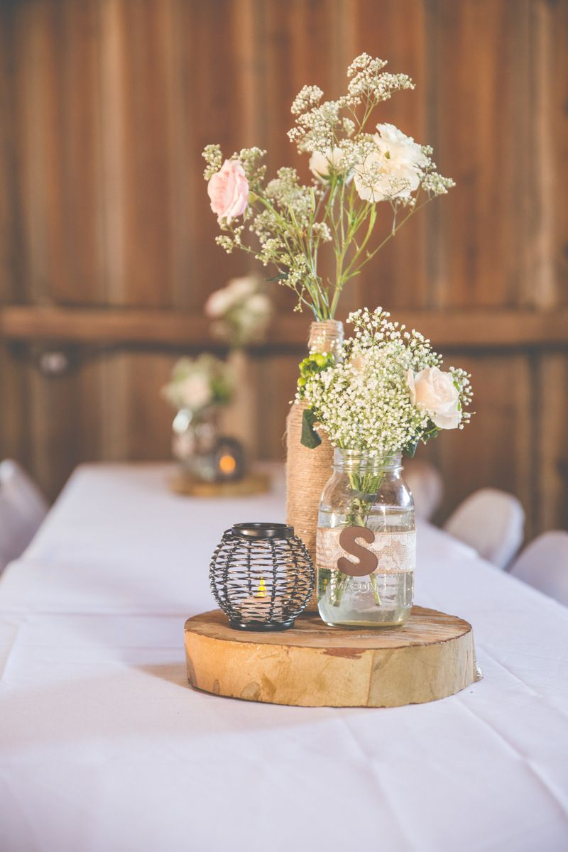 rustic wedding centerpieces Rustic Chic Wedding by A Marie Photography Planned in 3 Months