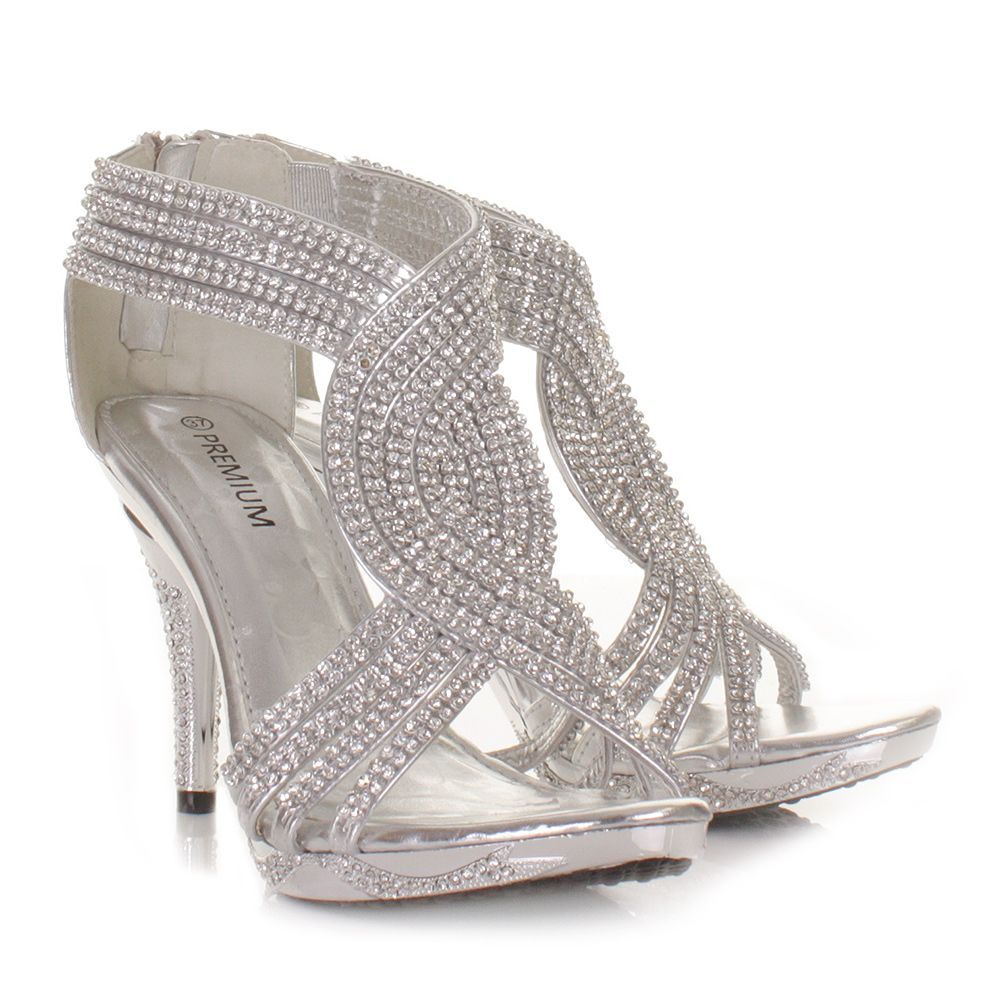 silver shoes for wedding Silver Wedding Shoes SILVER WOMENS LADIES DIAMANTE WEDDING HIGH HEEL PROM SHOES SANDALS