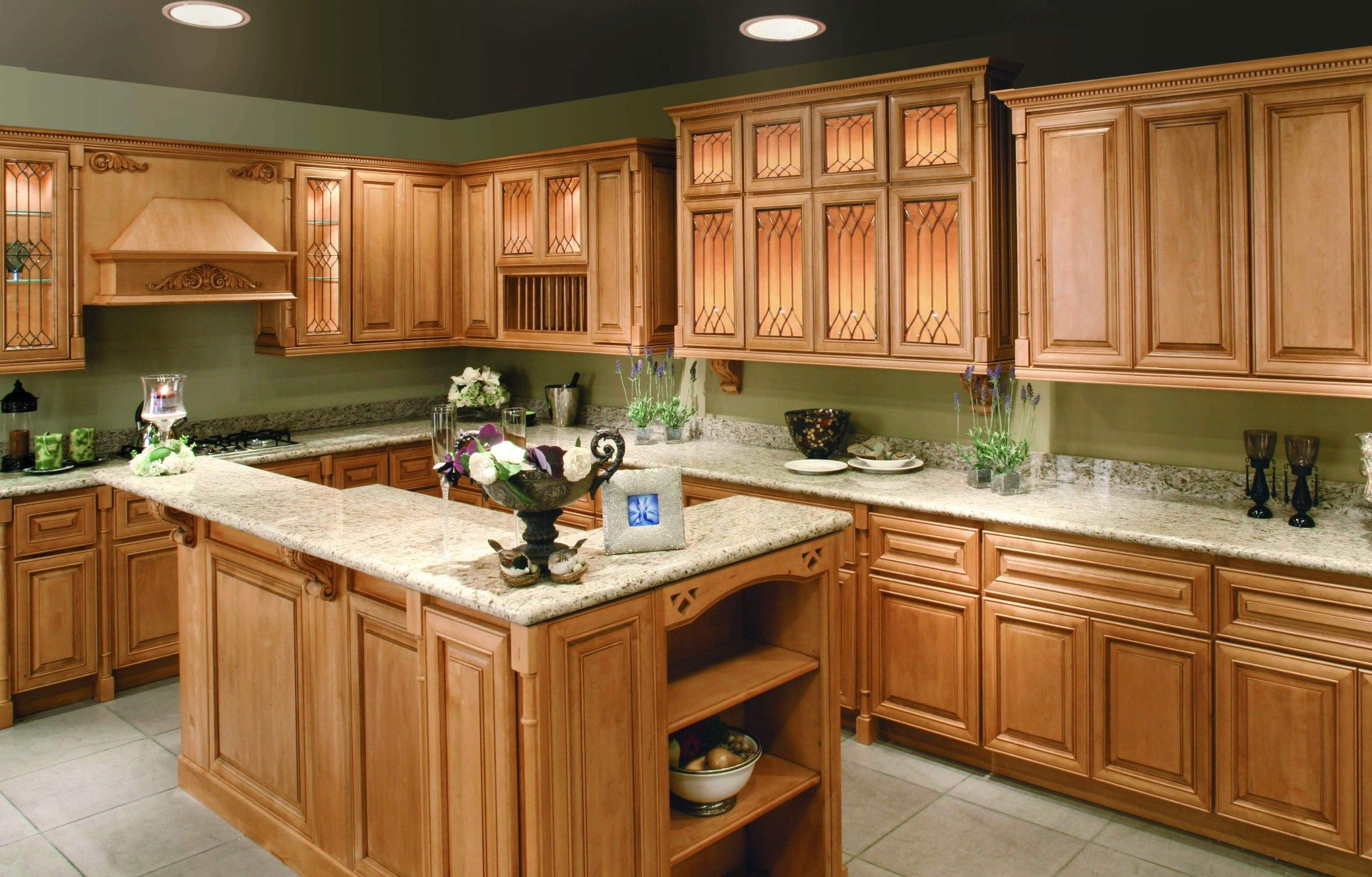 light kitchen cabinets Kitchen light brown wooden kitchen cabinet on the green wall plus white counter top and brown wooden wooden kitchen island with white counter top and
