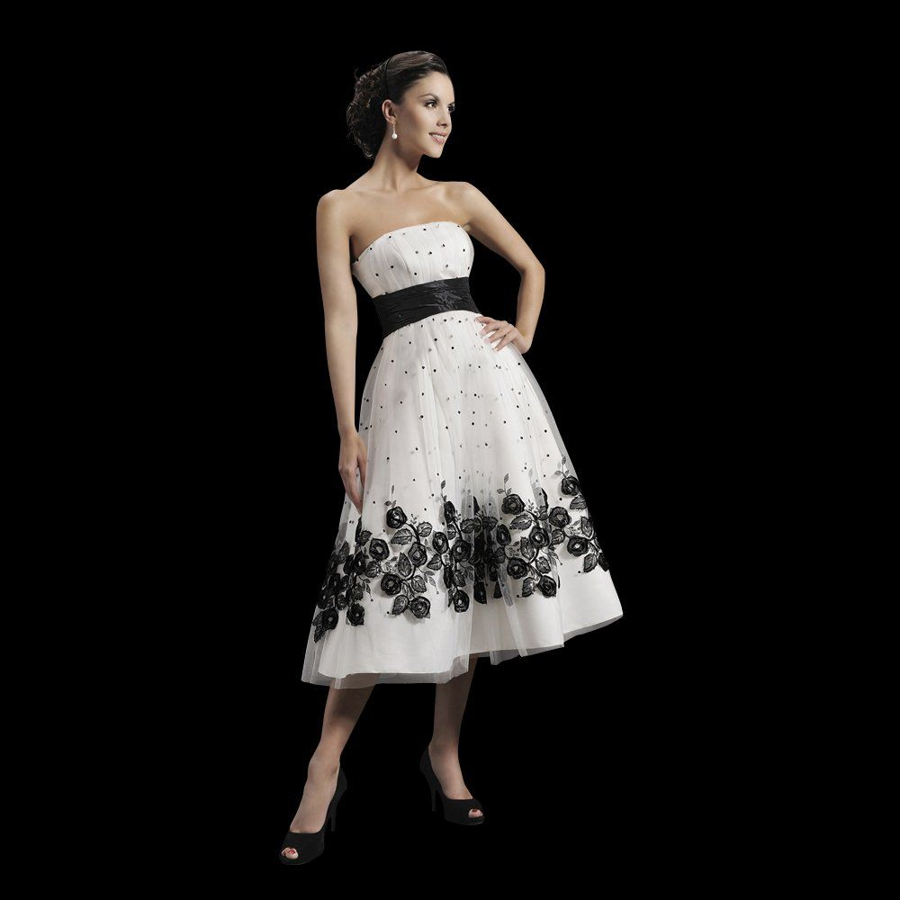 black white wedding dress Amber Tea Length Wedding Dress by Agnes Bridal in Black White available to buy at Cutting Edge Brides in Bexley Greater London