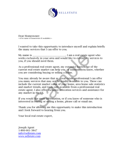 Real Estate Letters of Introduction Introduction Letter Real Estate Agent Jim Pellerin | Real ...