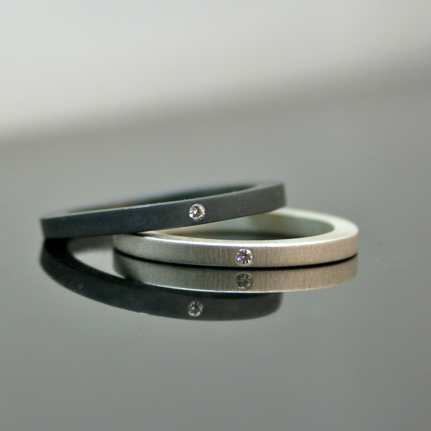 etsy wedding bands Diamond Stacking Rings Simple Wedding Band Set Matte and Black Pair of Two