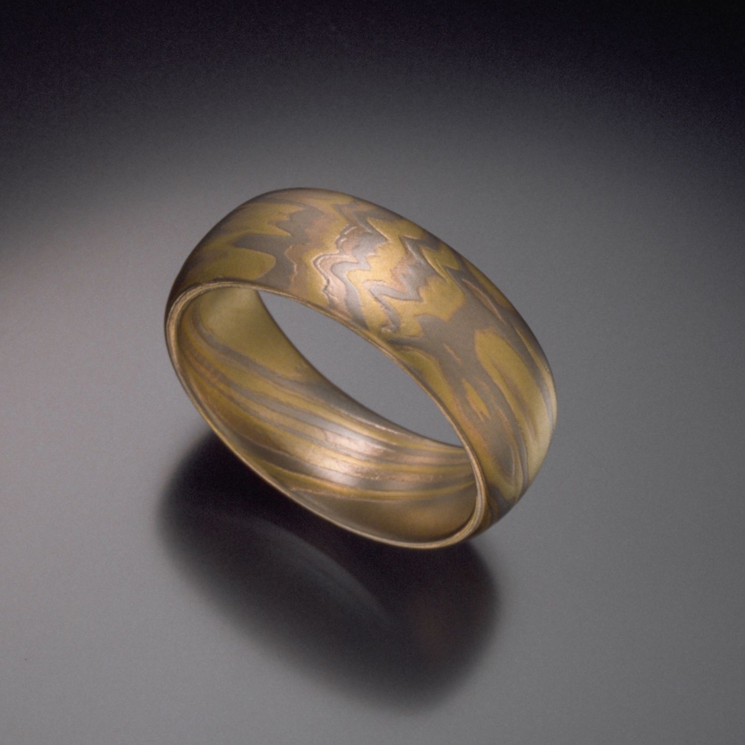 triple band wedding ring Women s 18K Yellow White and Rose Gold Mokume Wedding Band Hand Made by Steven Jacob