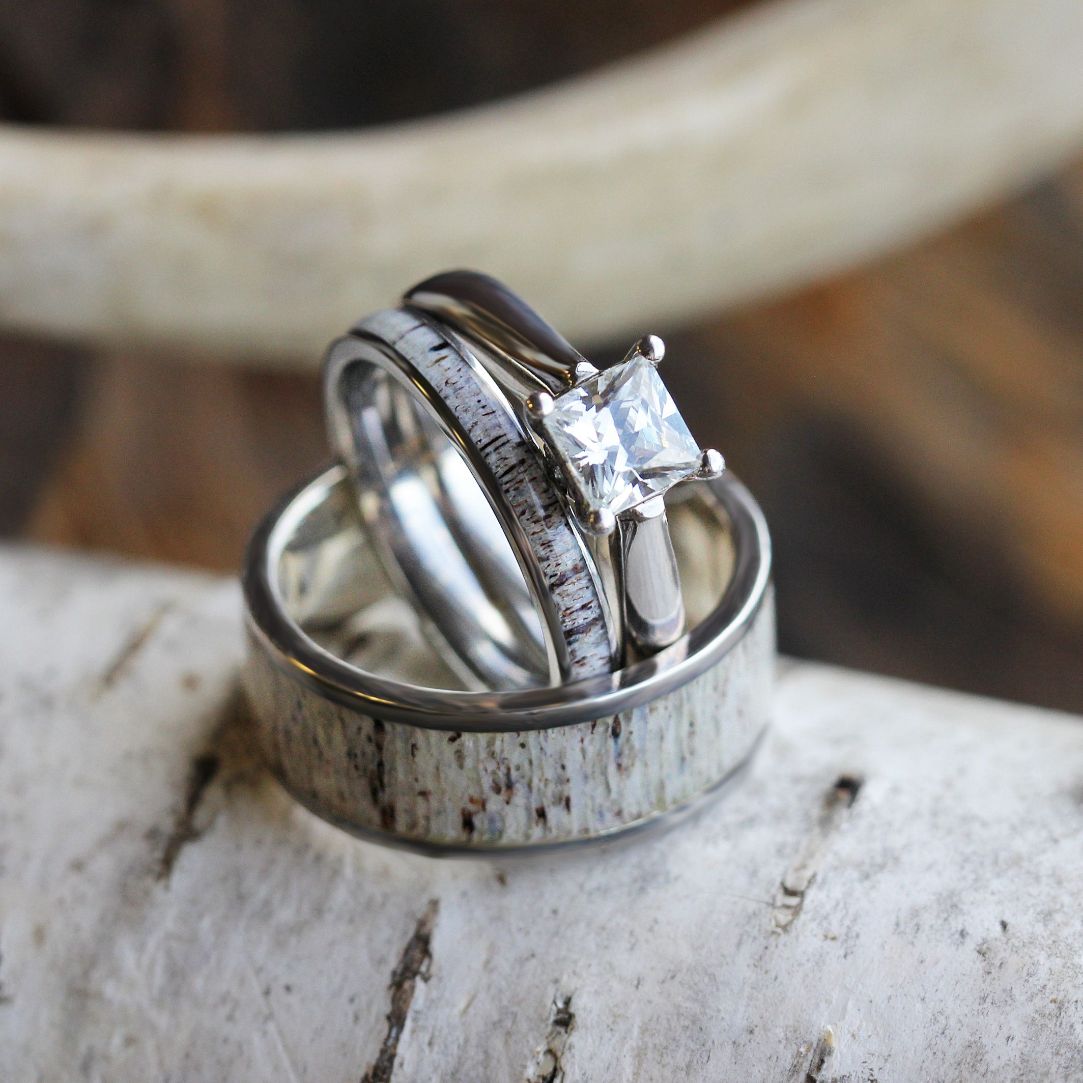 camo wedding band sets Deer Antler Wedding Ring Set His And Hers Matching Wedding Bands