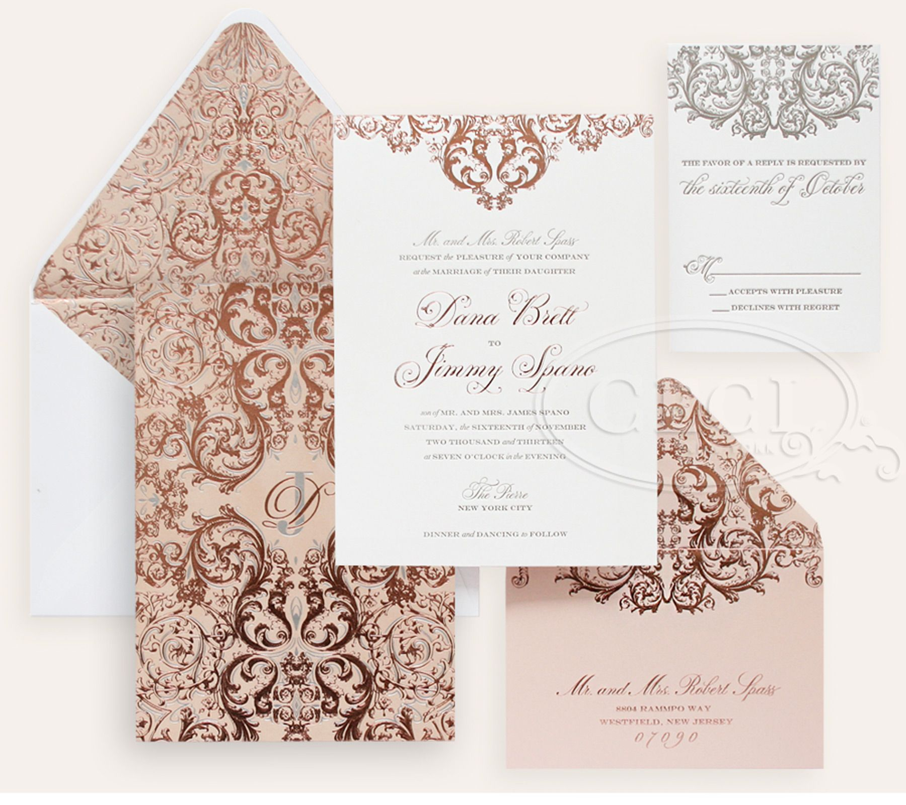 rose gold wedding invitations Luxury Wedding Invitations by Ceci New York Our Muse Romantic Rose Gold Wedding