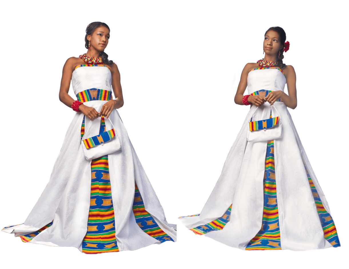 african wedding dressing african wedding dress Kente woven panels in Wedding Gown