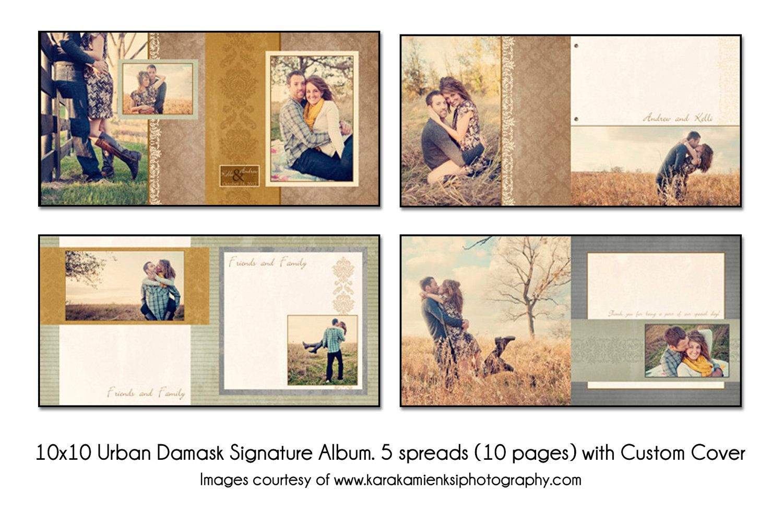 wedding books PSD Wedding Album Template Urban Damask Guest Book 5 spread 10