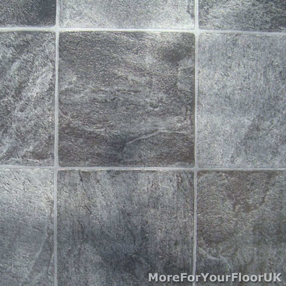 kitchen floor lino Grey Stone Tile Vinyl Flooring Kitchen Bathroom Lino