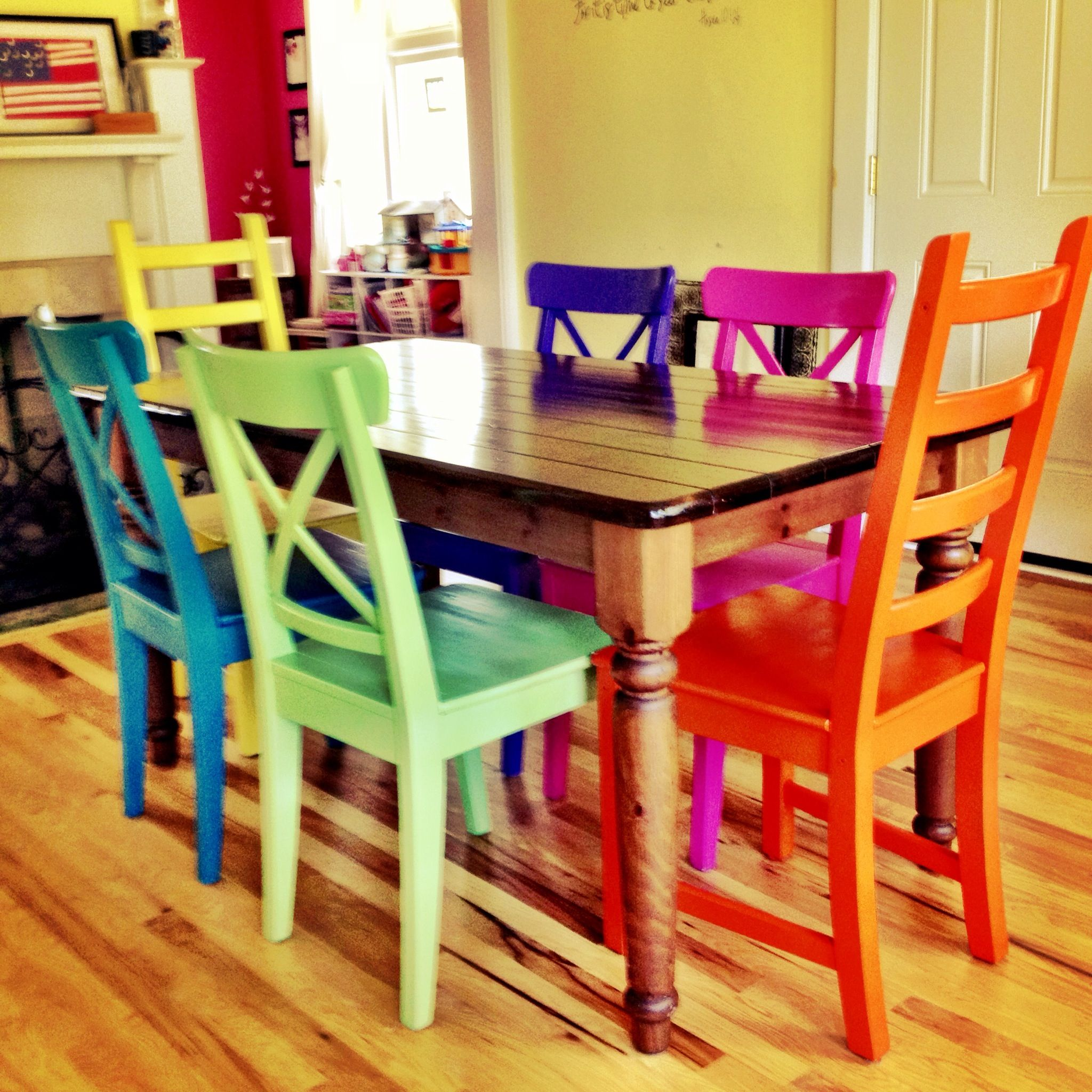 painted kitchen tables Rustoleum spray painted chairs these remind me of all the colored benches at the