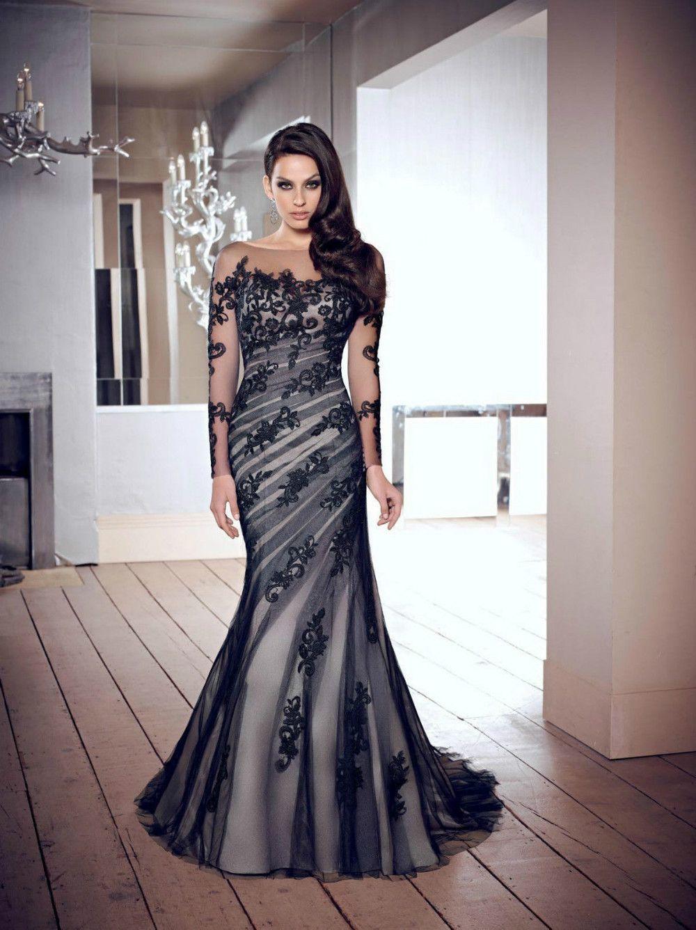 wedding dresses black black lace wedding dress buy sexy black lace custom jewel wedding gown long sleeve mermaid prom