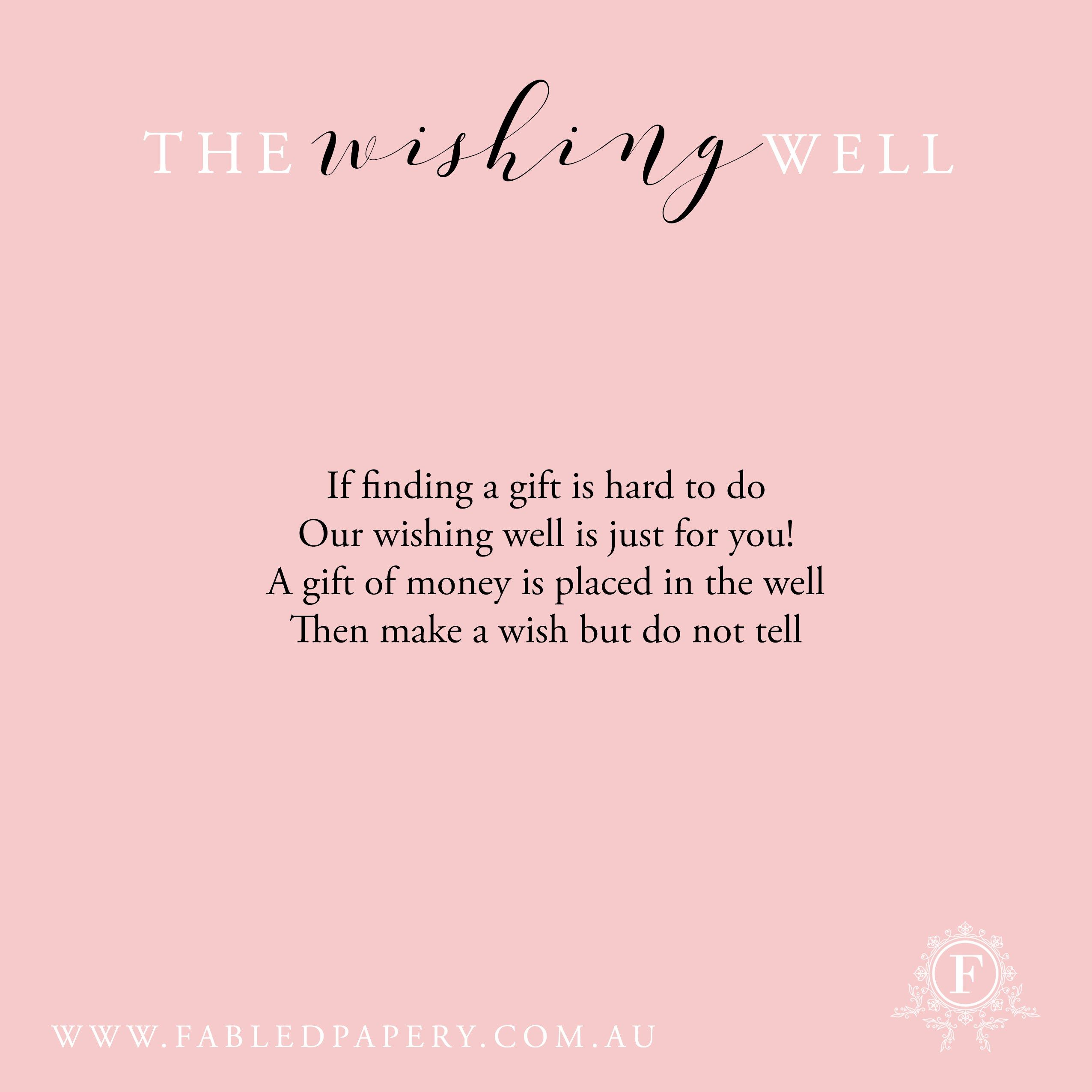 wishing well wedding Our Favourite Wishing Well Poems Fabled Papery