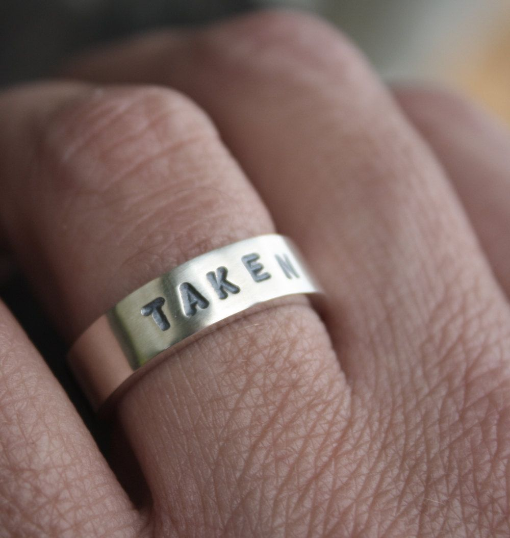 etsy mens wedding bands unique mens wedding ring stamped taken chunky sterling promise ring boyfriends girlfriends gift via Etsy lol