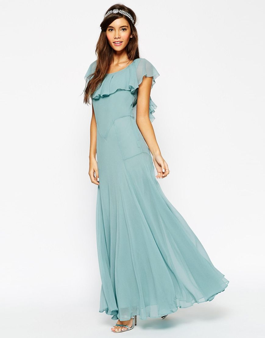 maxi wedding dress Image 1 of ASOS WEDDING Maxi Dress With Soft Frill And Seam Detail