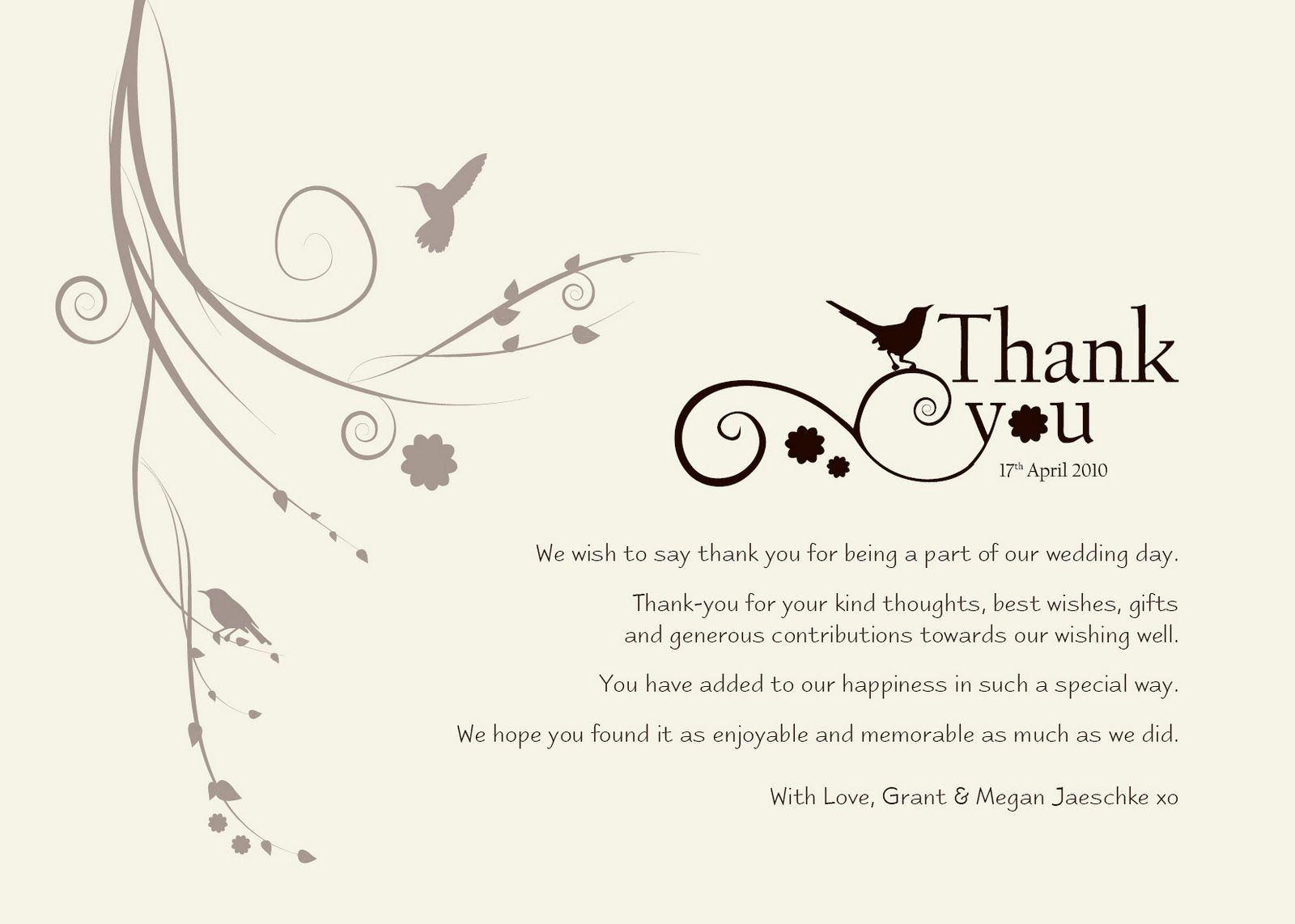 thank you cards wedding Wedding Thank You Templates Free Standard Greeting Card size colour matte laminated print