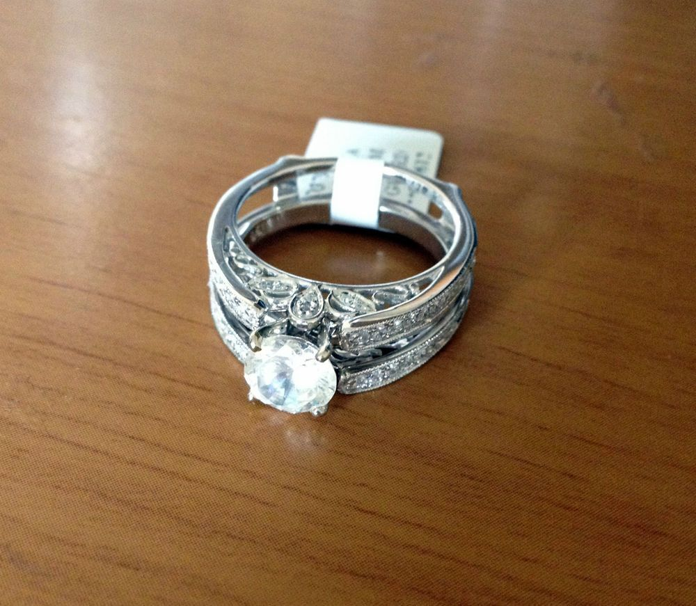 wedding band enhancers Diamonds Antique Vintage Cathedral Ring Guard Solitaire Enhancer 14k White Gold